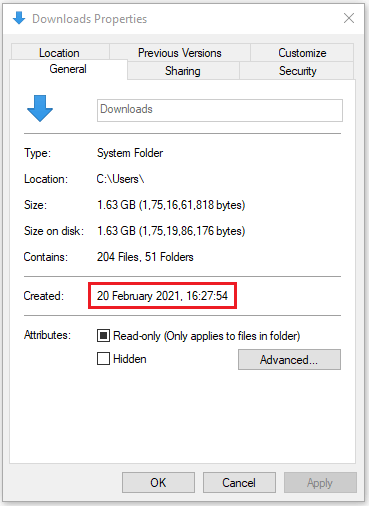 The properties window will show up on the screen and the folder created time & date is present there