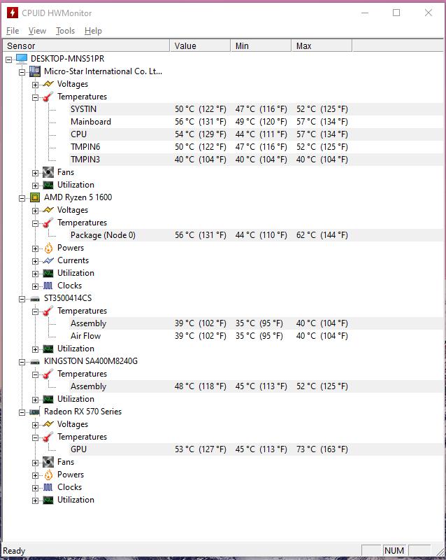 The snapshot displays the CPU temperature during gaming (Apex Legends)