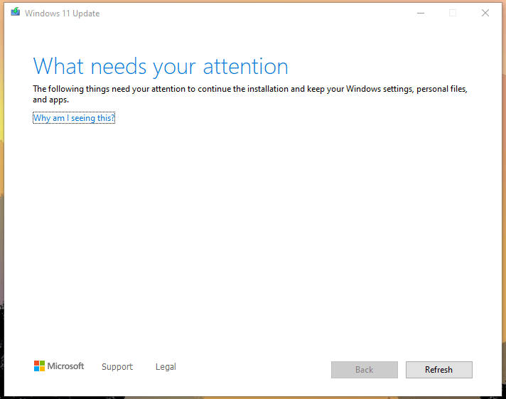 """The """"What needs your attention"""" window may show up"""