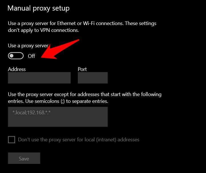 Turn off Proxy