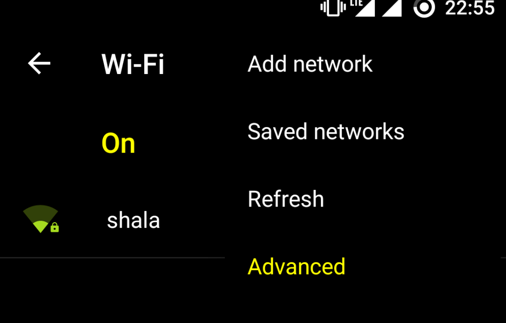 Turn on Wi-Fi and open Advanced Option