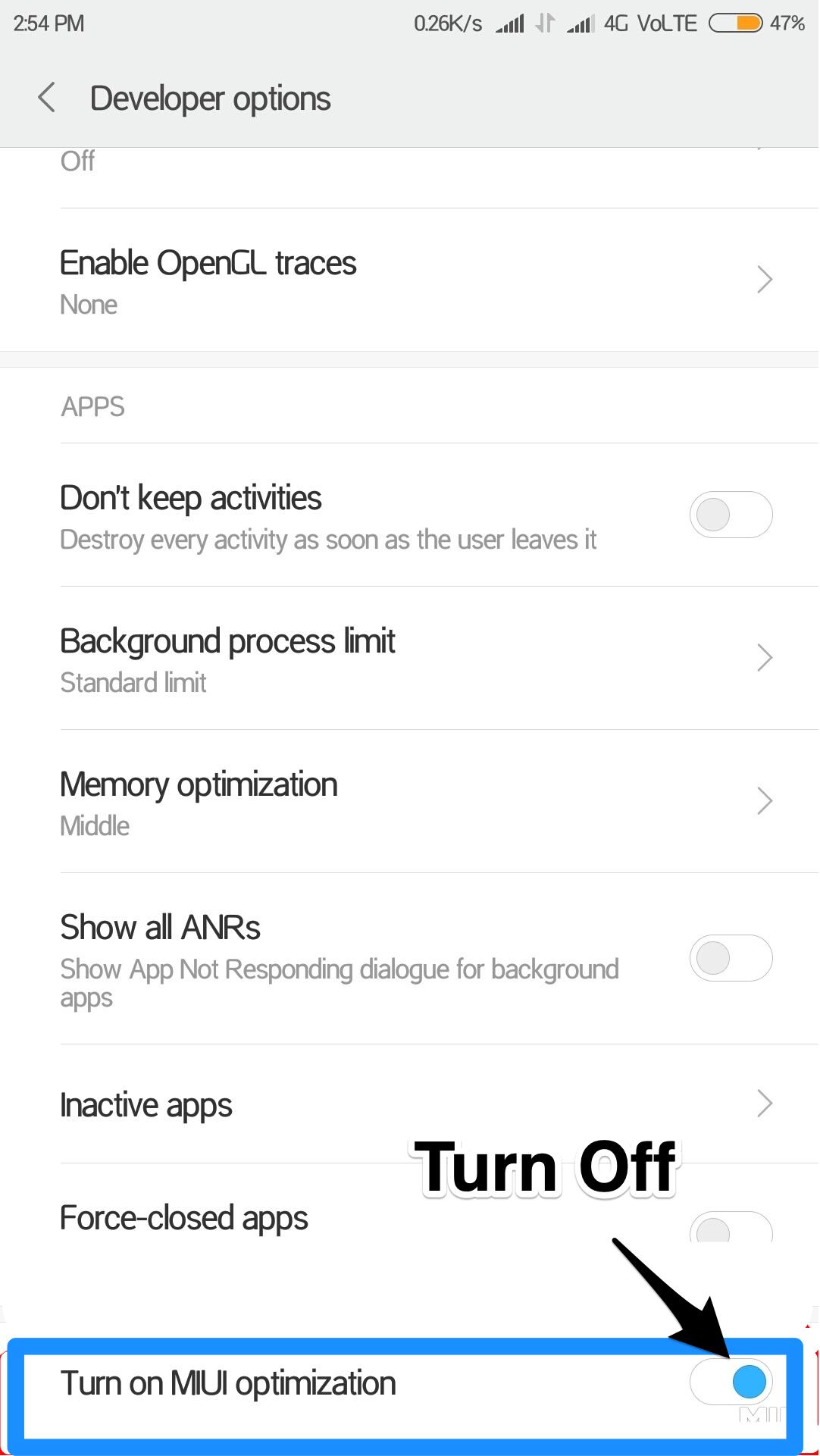 Turn OFF MiUI Optimization