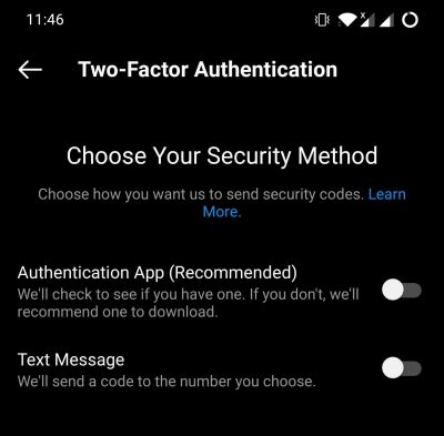 Two Step Verification Methods