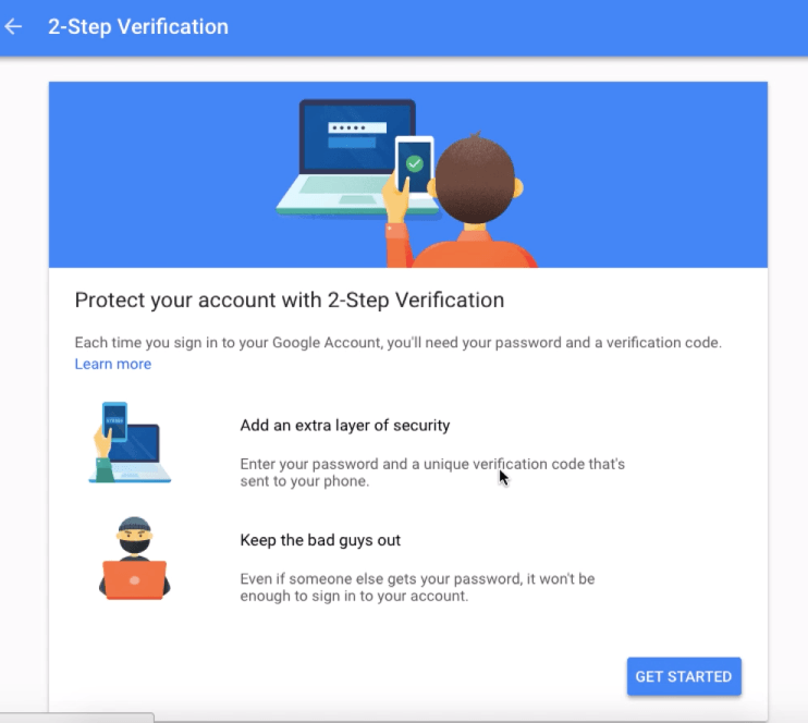 Two Factor Authentication Wizard in Google MyAccount