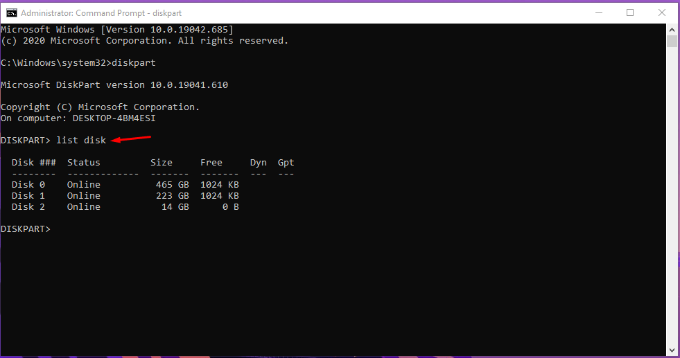 "Type ""List Disk"""