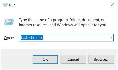 "Type ""taskschd.msc"" and hit the Enter button"