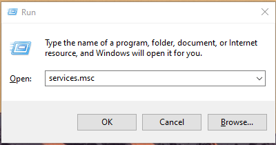 "Type ""services.msc"" and then press ""OK"""