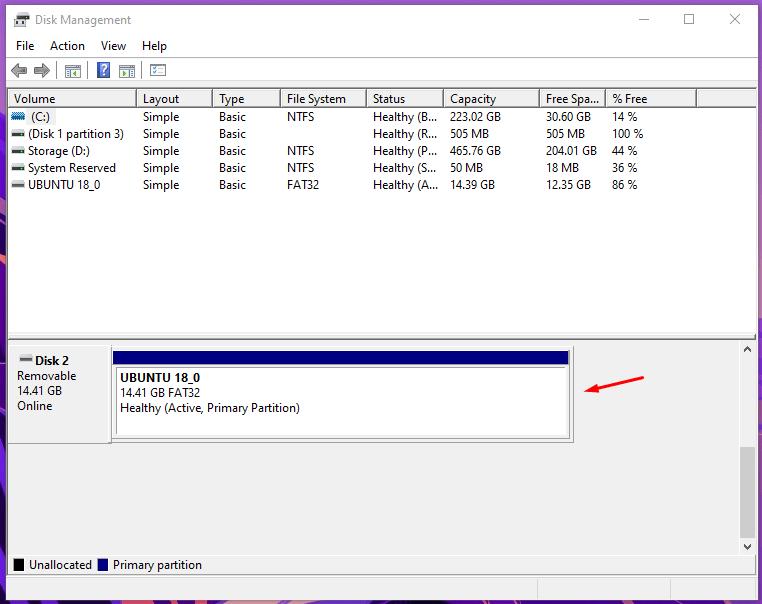 USB Storage in Disk Management