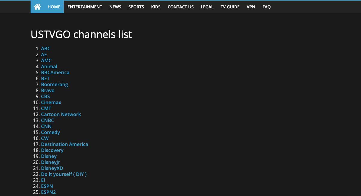 USTVGO Channels