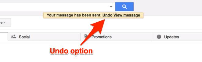 Undo option in Sent status