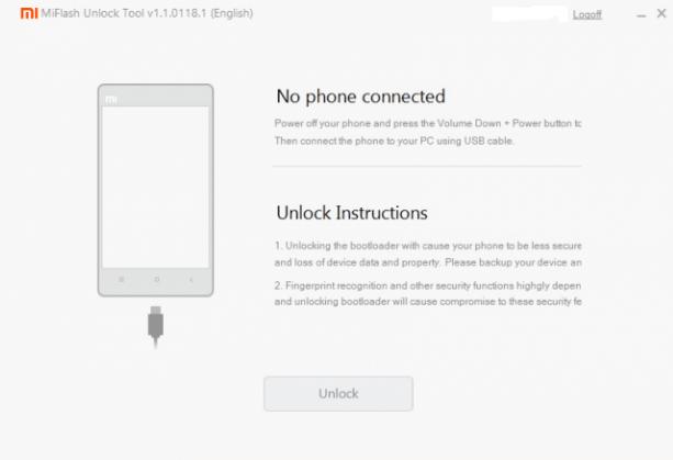 Unlock Device using Mi Tool