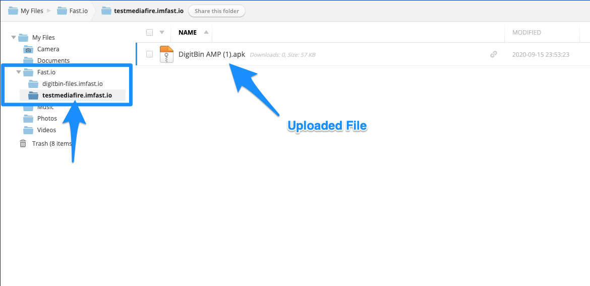 Upload File in Mediafire