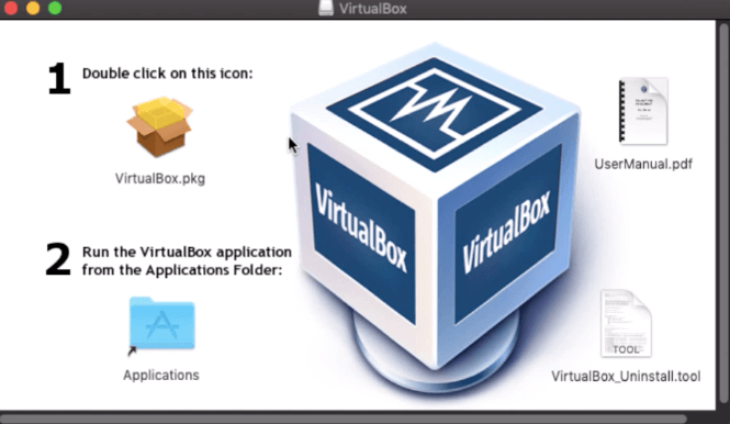 VirtualBox Installation Package Window in macOS