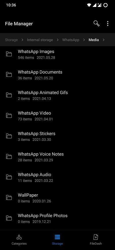 WhatsAPp Chat Media Internal Storage