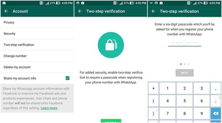 WhatsApp 2 Step-verification