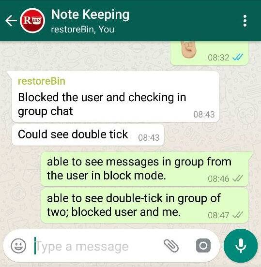 WhatsApp Messaging to Blocked Contact in Group Chat