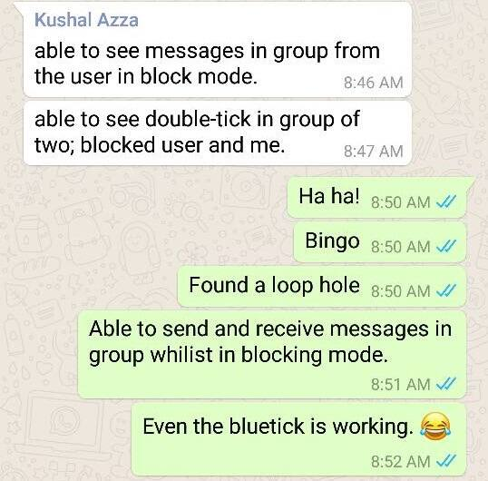 Blocked Group Chat with Bluetick