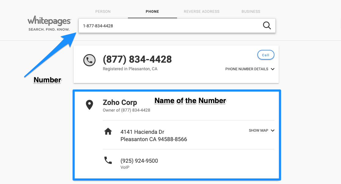 WhitePages Reverse Number Lookup
