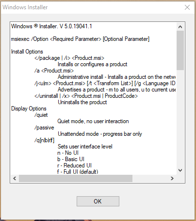 Windows Installer pop-up