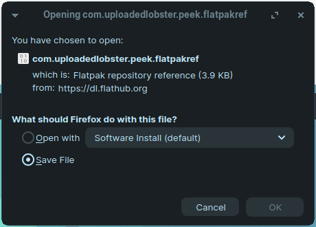 """You can save the file or choose to open it from the """"Software Install"""" program"""