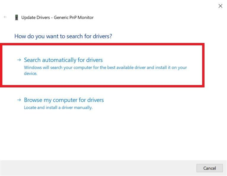 """You need to tap on the first option, i.e. """"Search automatically for updated driver software"""""""