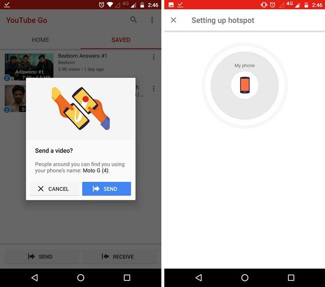 YouTube Go Send Offline Saved Videos