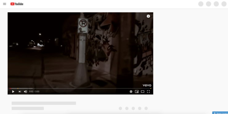 YouTube Video Play Screen in White and not loading