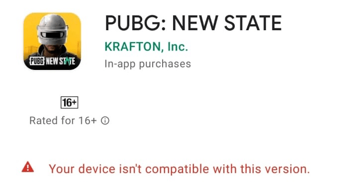 Your Device isn't compatible with this version
