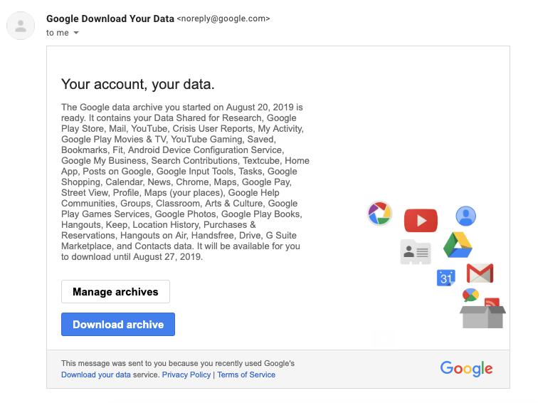 Your Google data archive is ready Email Notification