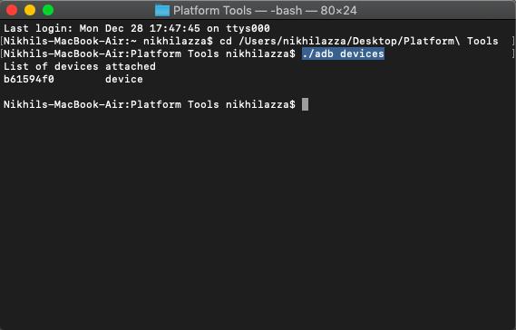 adb devices mac terminal