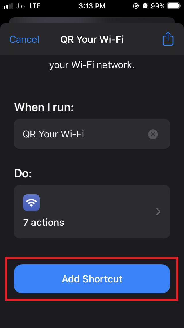 add shortcut qr your wifi