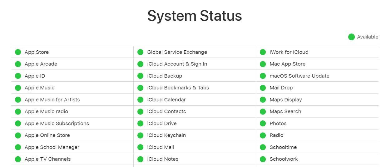 apple ID system status