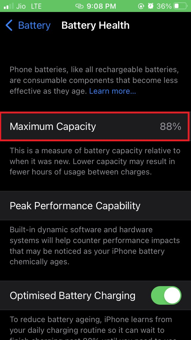 battery health percentage