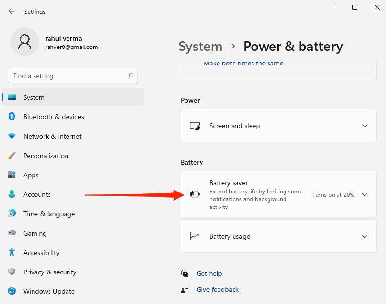 battery saver windows 11