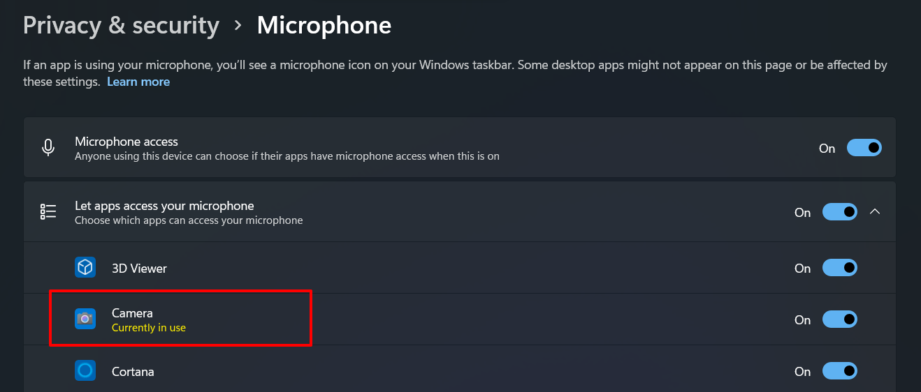 camera currently in use windows 11