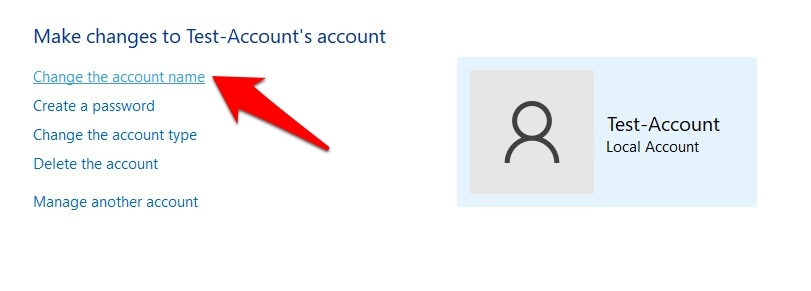 change account name in windows 11 using control panel