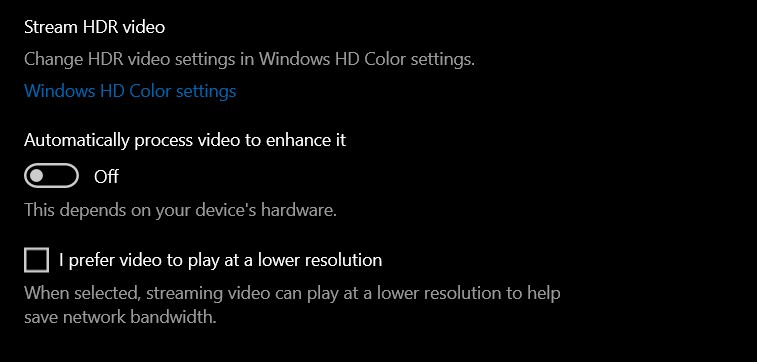 change the Stream HDR video option