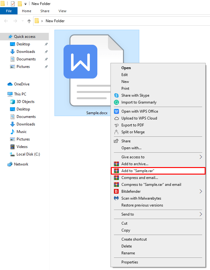 "choose (Add to ""Sample.rar"") to create a compressed fil"
