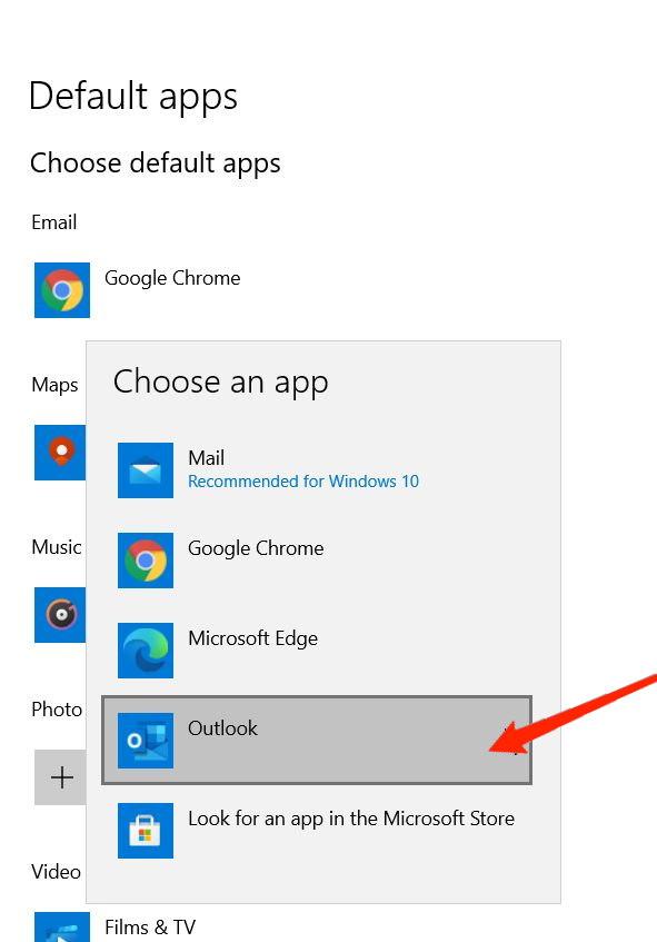 choose default email app in windows 11