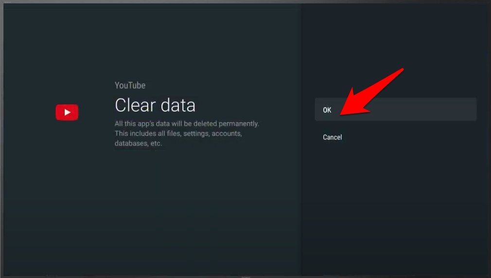 clear data confirm youtube app android tv