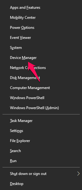 click on the 'Device Manager' label or press the M key
