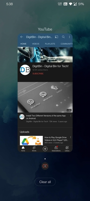 close youtube from recents app section on android