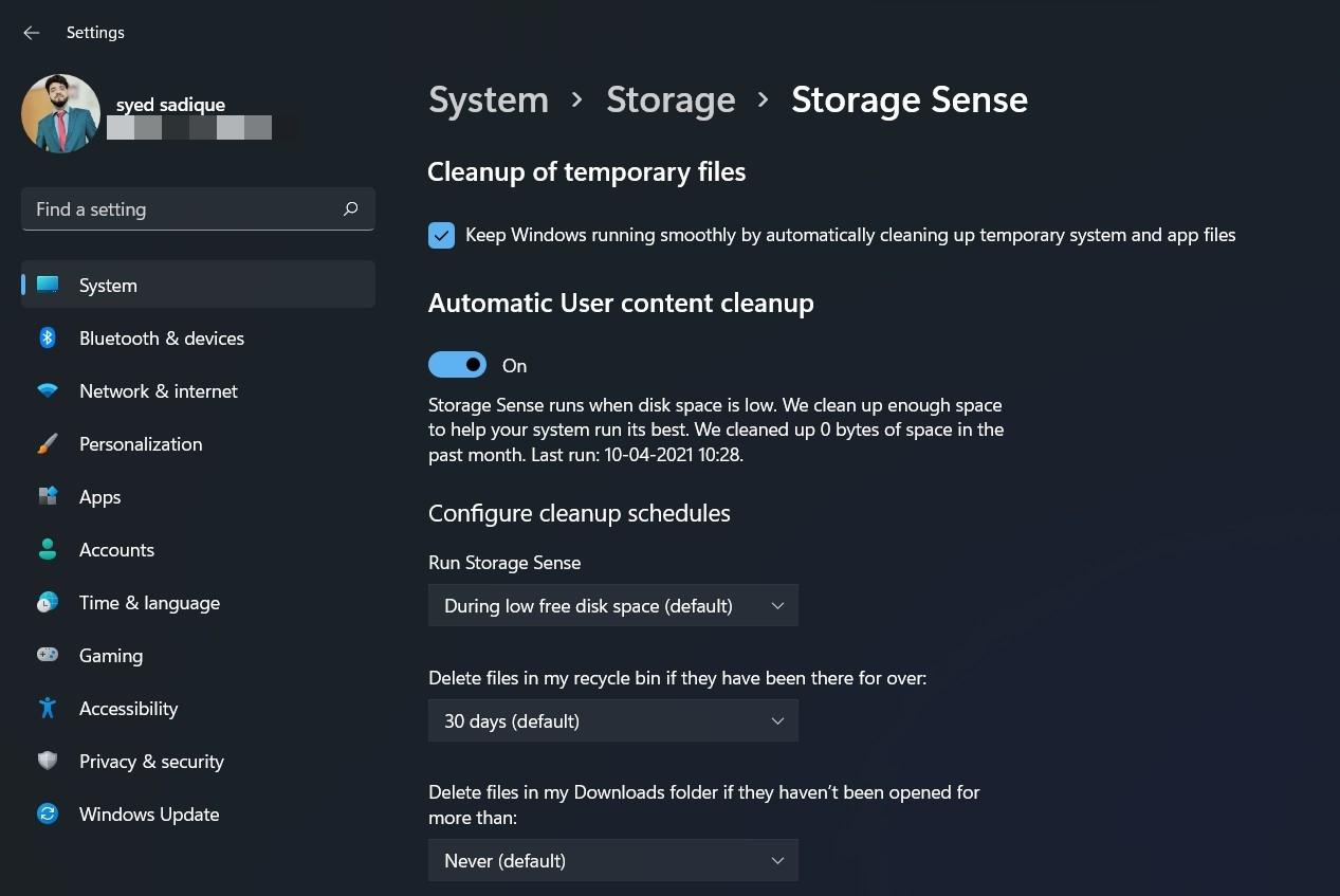 configure storage sense in windows 11