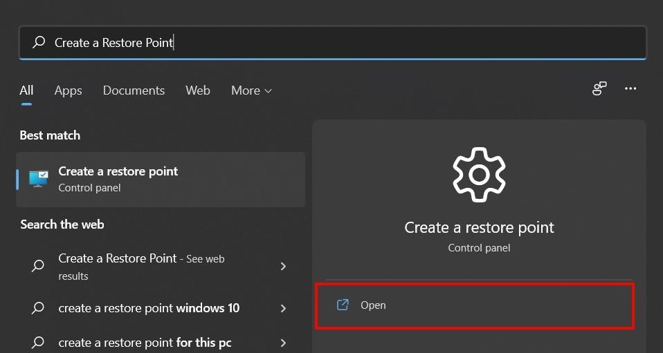 create a restore point windows 11
