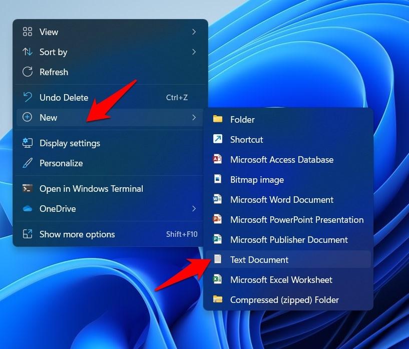 create new text document windows 11