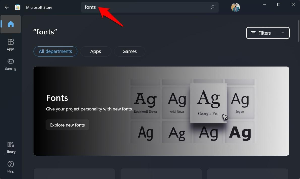 custom fonts microsoft store