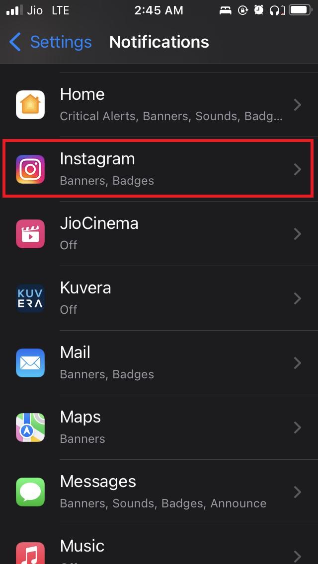 customize instagram notifications