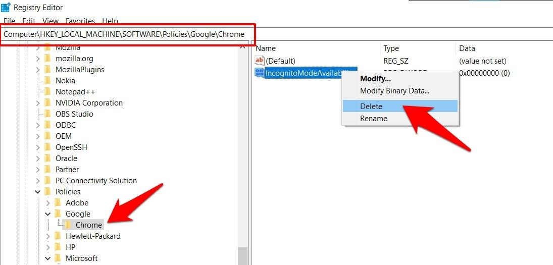delete chrome registry editor