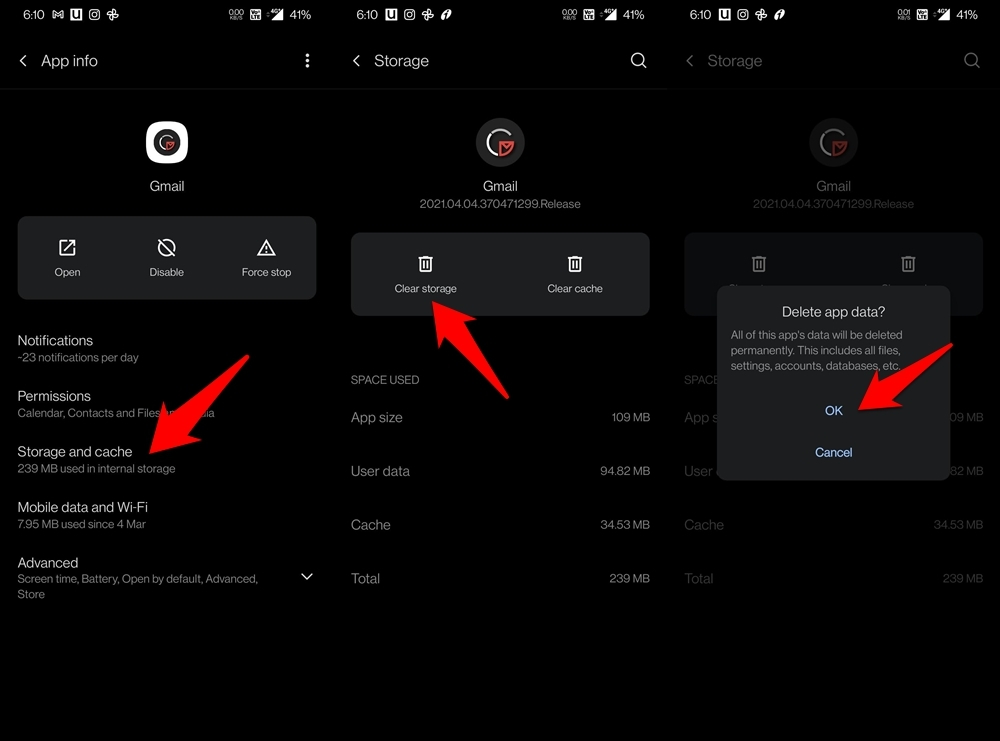 delete gmail app data on android
