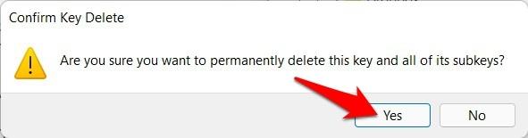 delete registry in windows 11 confirmation